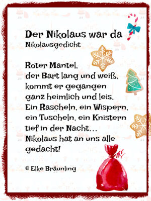 der nikolaus war da kleines nikolausgedicht. Black Bedroom Furniture Sets. Home Design Ideas
